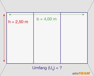 Die Wandfläche wird durch zwei Stege in drei gleichgroße Segmente unterteilt.