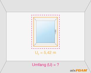Ermittlung des Außenmaßes der Rahmenkonstruktion um das Fenster