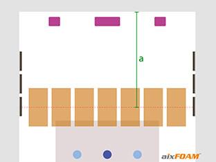 Sivunäkymästä saatu etäisyys siirretään nyt pohjapiirustukseen ja ääniabsorbentit suunnitellaan sen mukaisesti.