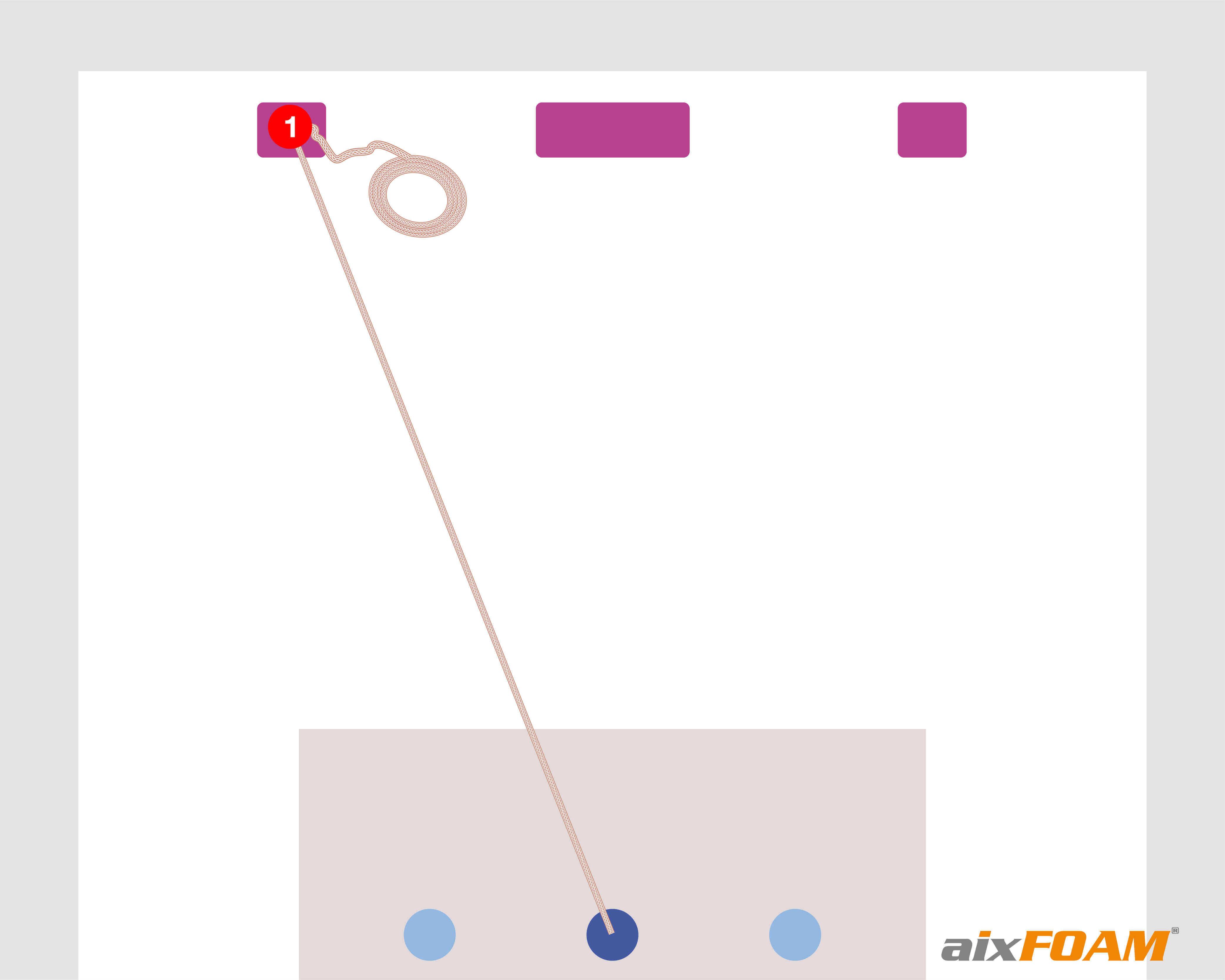 Vaihe 1: Narun vetäminen kuuntelupaikasta kaiutinboksiin, jolle heijastumiskohdat määritetään, paikan merkintä solmulla