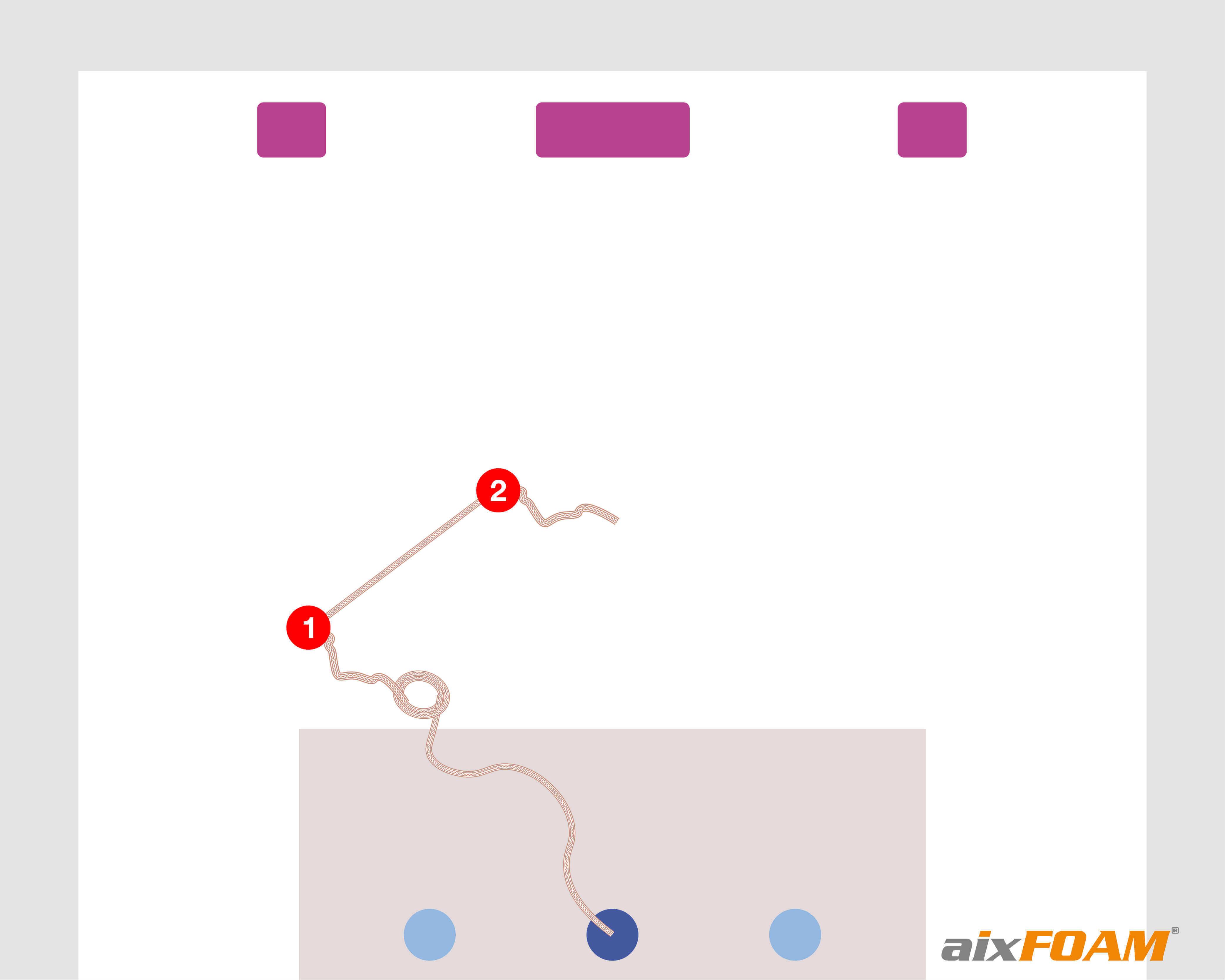 Vaihe 2: Aikaisemmin heijastuneen äänen kulkemasta matkasta saadun pituuden mittaus, alkaen ensimmäisestä solmusta, kohta merkitään toisella solmulla