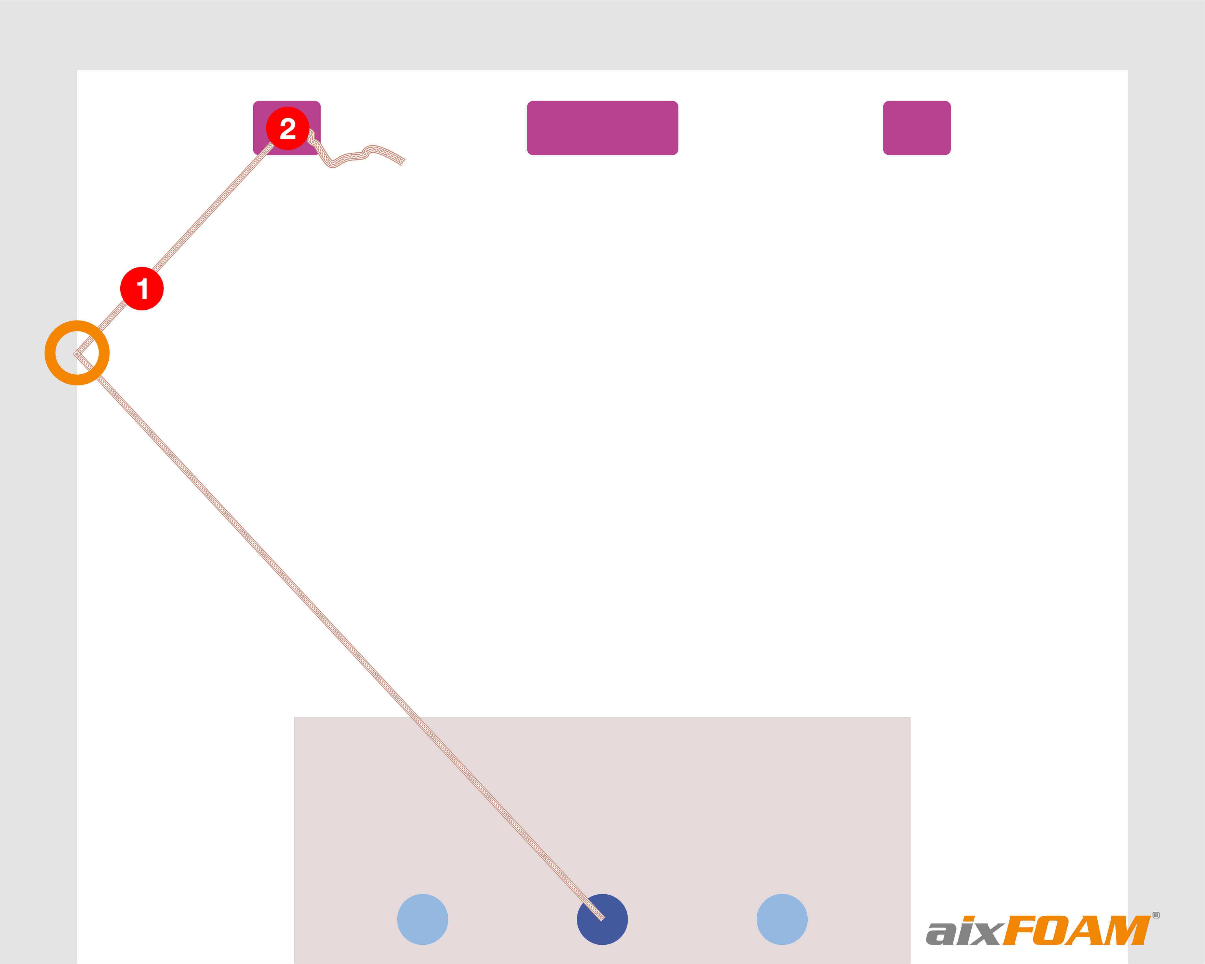 Vaihe 3: Solmun nro 2 kiinnitys kaiuttimeen, löysänä olevan narun vetäminen seinään kiinni ja siten heijastumiskohdan määritys