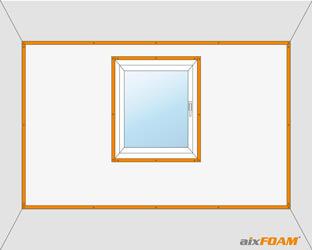Kanthölzer als Rahmenkonstruktion bei einer vollflächigen Wandverspannung mit Fensteraussparung