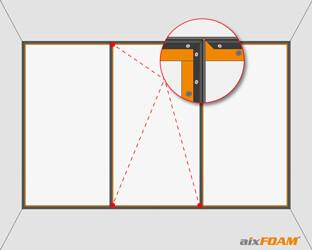 Auf Gehrung geschnittene Profile zwischen zwei Teilsegmenten