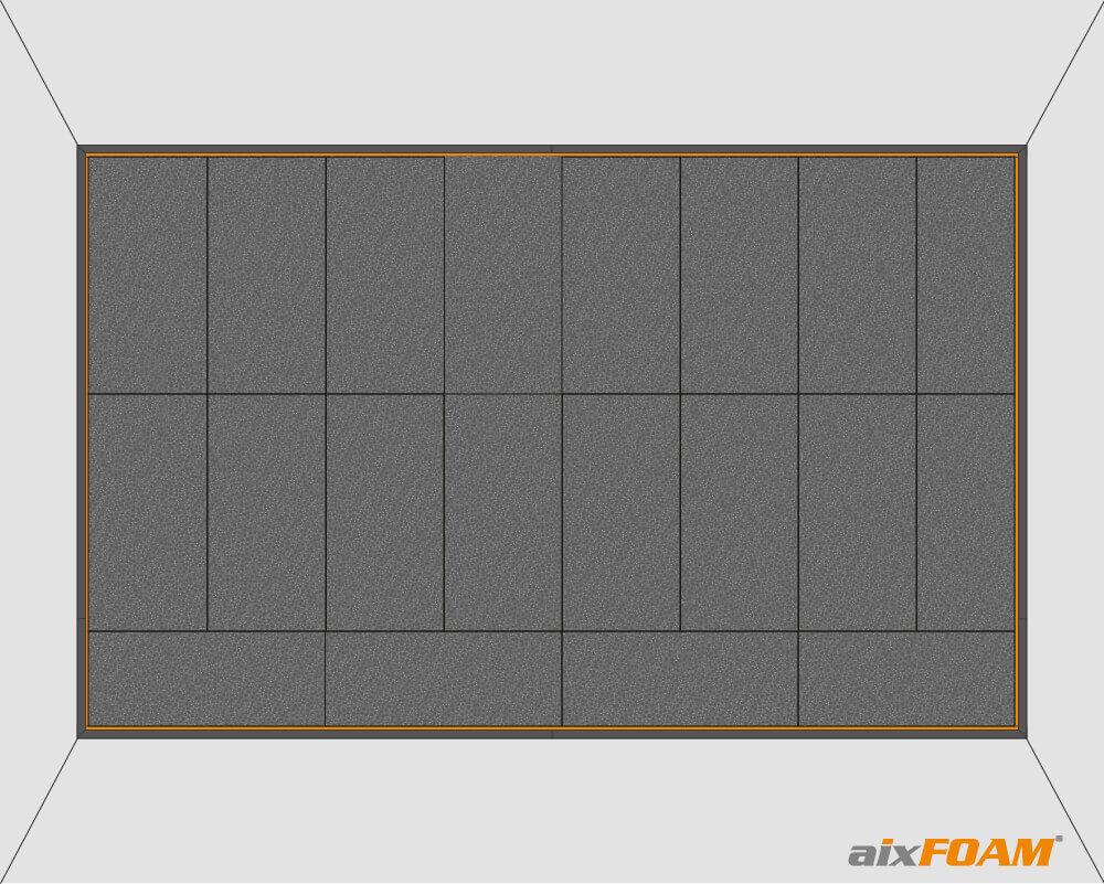 Plane Schallabsorber mit Selbstklebeausrüstung werden in die Unterkonstruktion für eine vollflächige Wandverspannung geklebt.