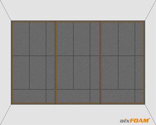 Plane Schallabsorber werden in die Unterkonstruktion für die Wandverspannung mit Teilsegmenten geklebt.