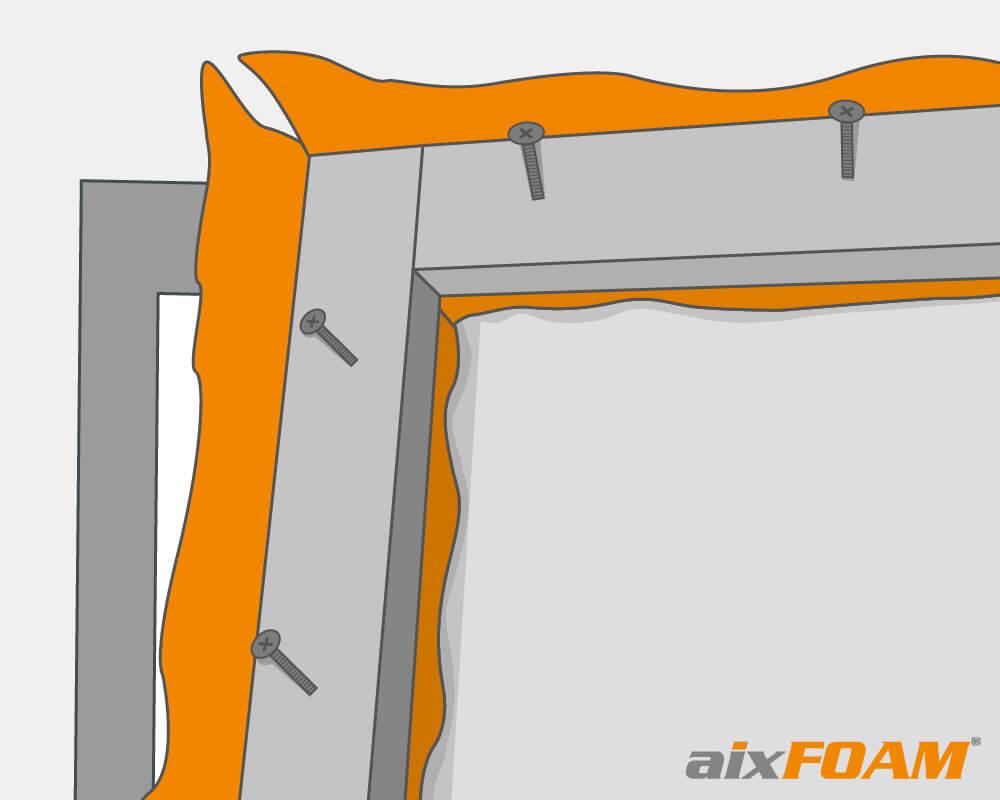 Croquis: tissu acoustique sous la construction du cadre en bois équarri