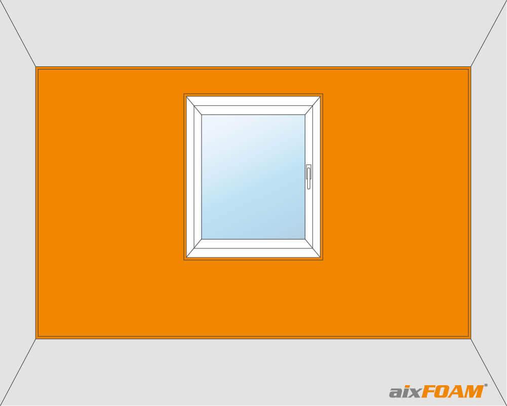 Vollflächige Wandverkleidung mit Fensteraussparung