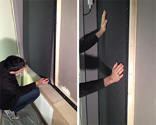 Maintenant, l'absorbeur est collé de haut en bas et pressé avec les mains. Ensuite, l'absorbeur doit être fixé à l'aide d'un rouleau.