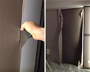 La spatule est utilisée pour presser le tissu dans le profil et le tendre jusqu'à ce qu'il soit sans plis.