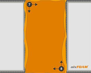 Le tissu est agrafé en croix dans les coins – d'abord en haut à gauche, puis en bas à droite.