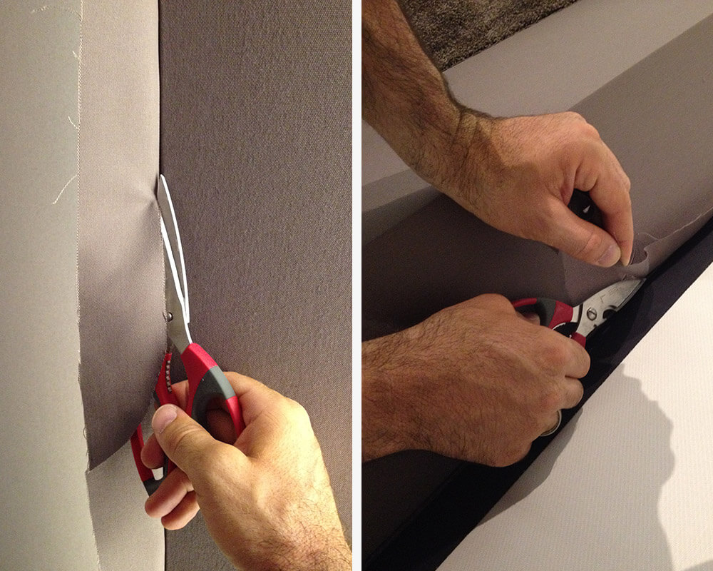 L'excédent de tissu est soigneusement coupé, de manière à laisser une bande de tissu de 5 à 10mm de long.