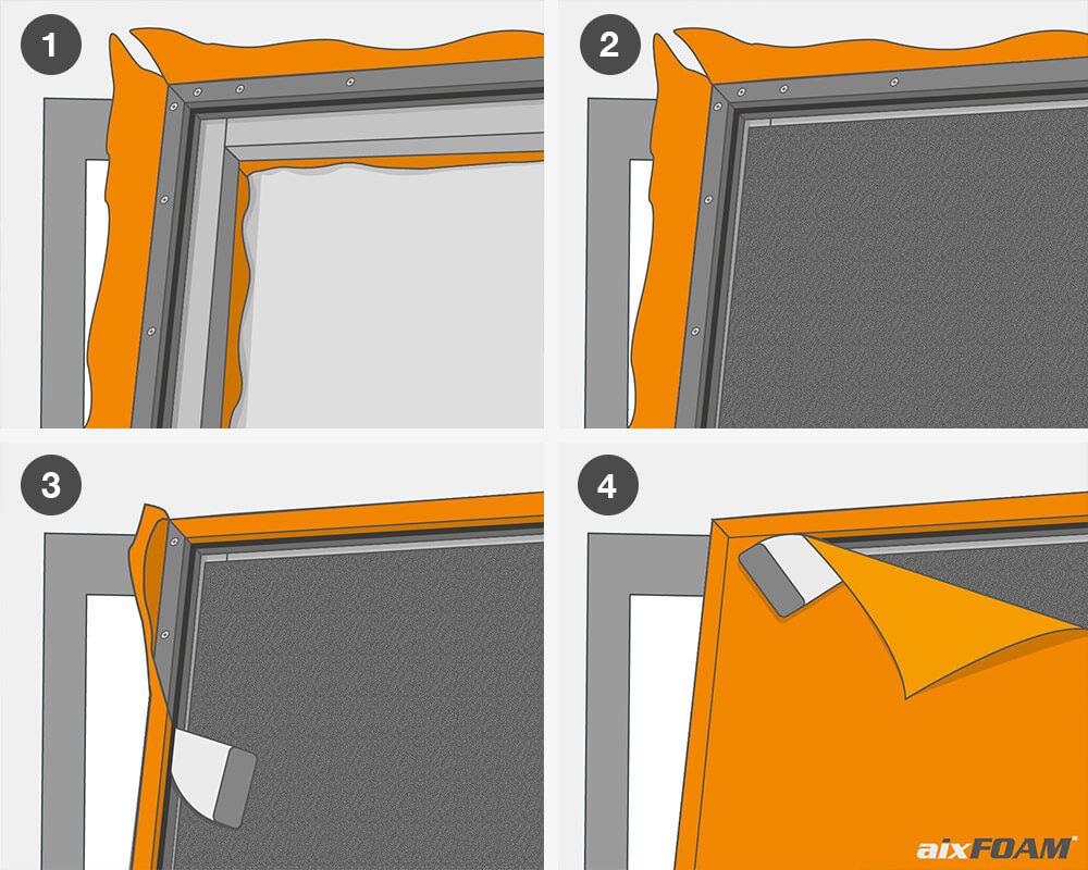 Croquis: renforcer la sous-structure avec un tissu acoustique