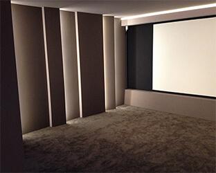 Mur et sol dans le nouveau home-cinéma aixFOAM