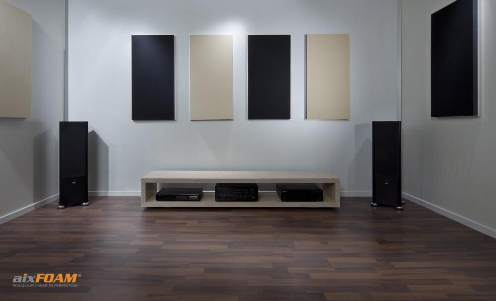 aixFOAM Design Schallabsorber mit Akustikfilzkaschierung SH006 schwarz/cremeweiß mit Montagerahmen