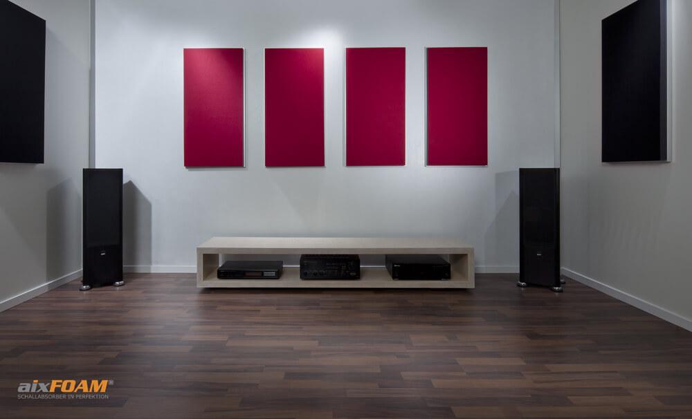 aixFOAM Design Schallabsorber mit Akustikfilzkaschierung schwarz/designrot SH006 mit Montagerahmen