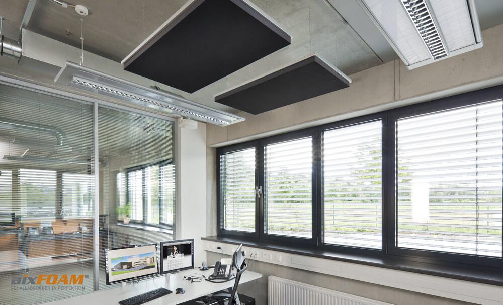 aixFOAM Design Schallabsorber mit Akustikfilzkaschierung schwarz SH006 mit Montagerahmen