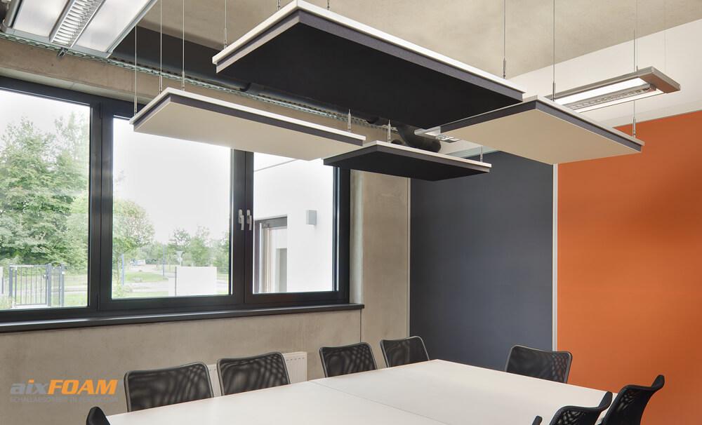 aixFOAM Design Schallabsorber mit Akustikfilzkaschierung schwarz/cremeweiß SH006 mit Montagerahmen