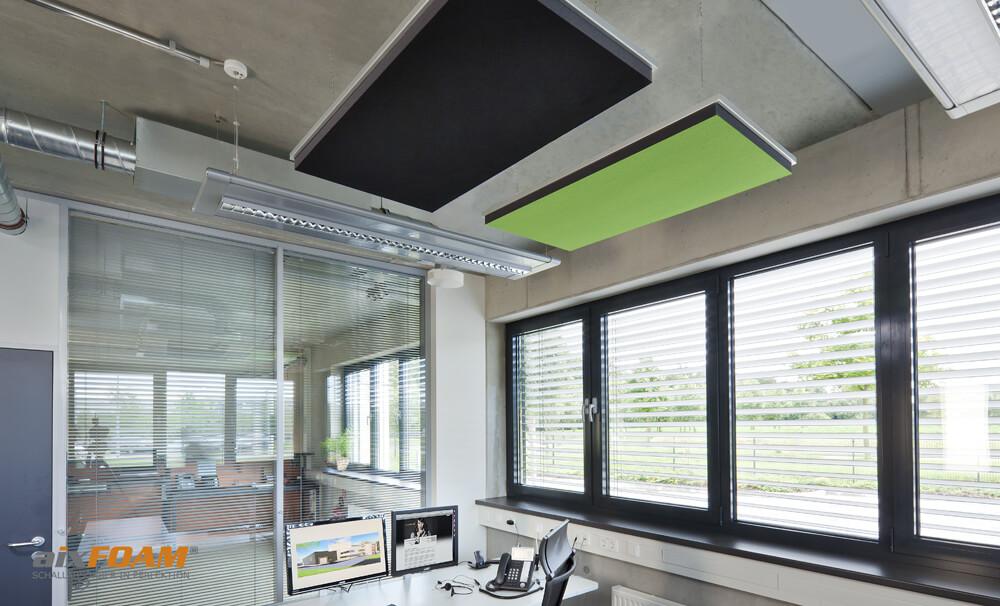 aixFOAM Design Schallabsorber mit Akustikfilzkaschierung schwarz/maigrün SH006 mit Montagerahmen