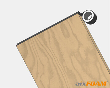 Entkoppeln der Holzplatte mit Dichtband