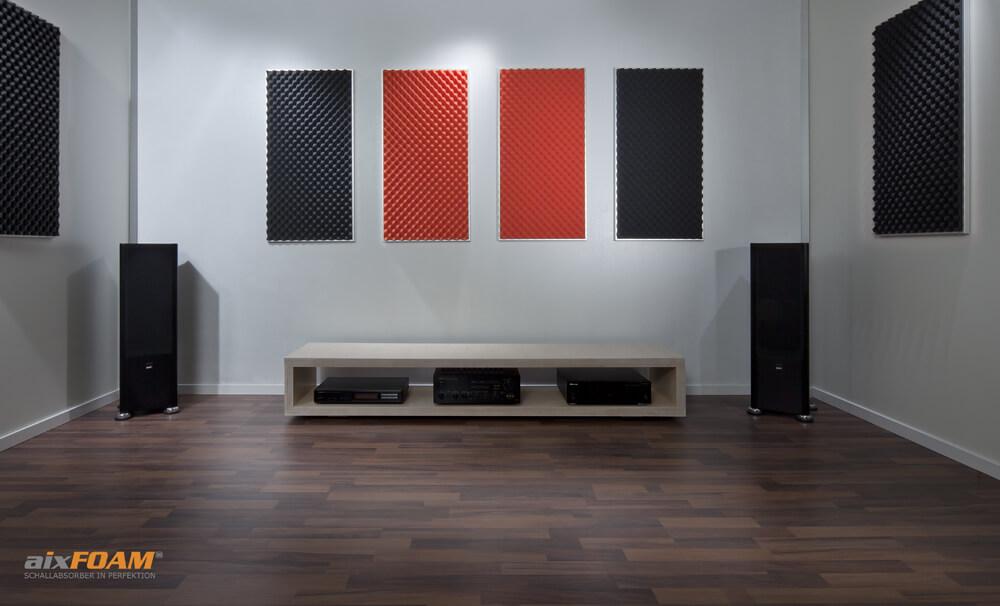 aixFOAM Akustikschaumstoff mit Noppenprofil SH002 anthrazit/orange mit Montagerahmen
