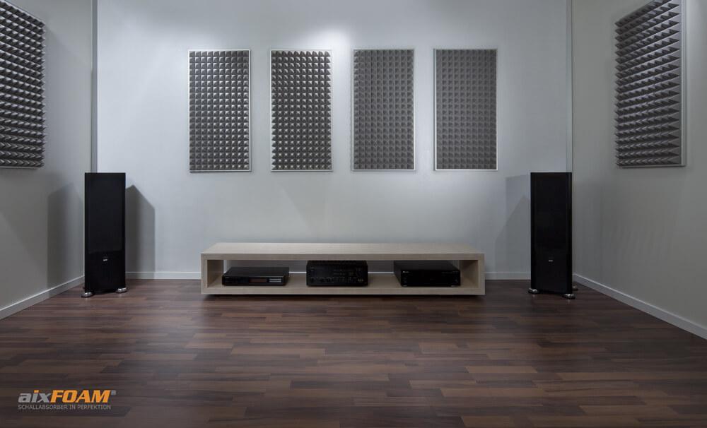 aixFOAM Absorptionsplatten Pyramidenschaum SH003 hellgrau mit Montagerahmen