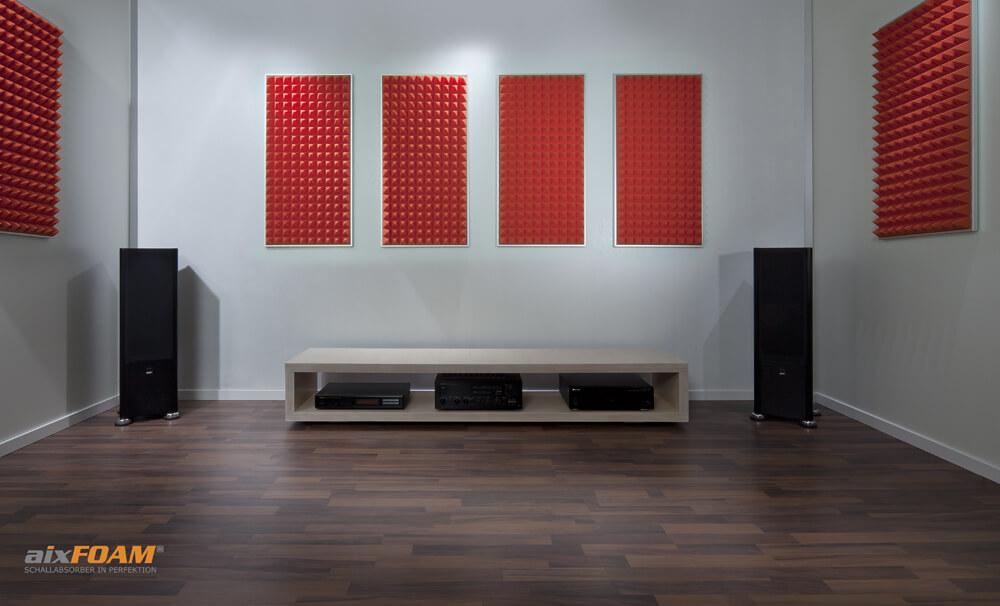 aixFOAM Absorptionsplatten Pyramidenschaum SH003 orange mit Montagerahmen