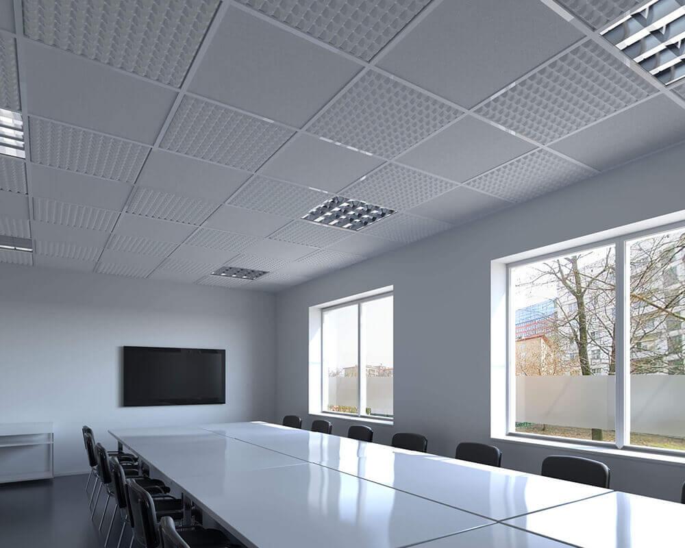 Schallabsorber für Rasterdecken/Abhangdecken sorgen für Ruhe und glasklare Akustik im Raum.