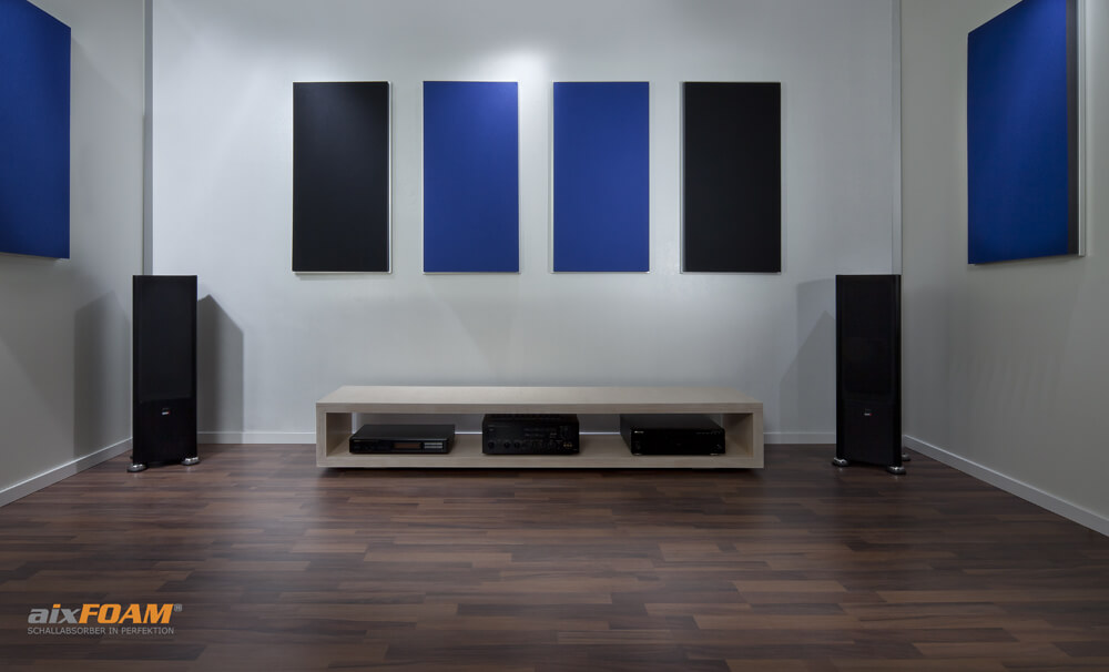aixFOAM Design Schallabsorber mit Akustikfilzkaschierung SH006 schwarz/royalblau mit Montagerahmen