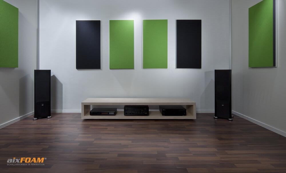 aixFOAM Design Schallabsorber mit Akustikfilzkaschierung SH006 schwarz/maigrün mit Montagerahmen