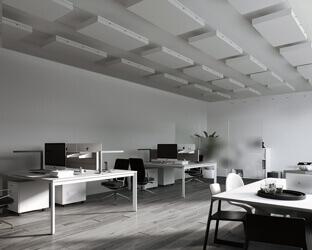 Akustiksegel wie das aixFOAM Seilsystem Akustik-Set werden ganz einfach unterhalb der Decke angebracht.