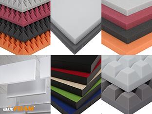 En tant que fabricant, aixFOAM offre une variété d'absorbeurs de bruit différents, fabriqués à partir de matériaux différents.