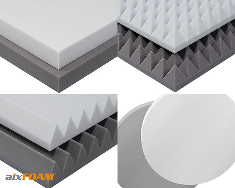Tout comme les absorbeurs de bruit en Basotect, les absorbeurs de bruit aixFOAM en mousse acoustique duromère ont une surface homogène à pores fins. Ils sont particulièrement indéformables, légers et très efficaces en matière d'absorption acoustique.