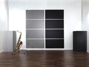 Absorptieplaten SH002 en basabsorbers SH012 zorgen voor een optimale sound in de opnamestudio.