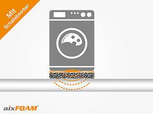 Machine à laver avec isolation phonique/ protection contre le bruit: le son est absorbé et ne peut pas se propager.